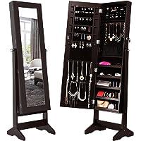 LANGRIA Lockable Jewelry Cabinet Jewelry Armoire with Mirror Jewelry Holder Organizer Storage, 4 Angle Adjustable