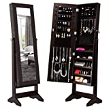 Amazon Price History for:LANGRIA Lockable Jewelry Cabinet Jewelry Armoire with Mirror Jewelry Holder Organizer Storage, 4 Angle Adjustable, Brown