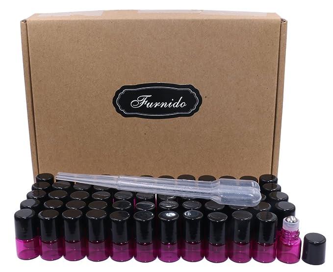 Botellas de vidrio enrollables, 60 unidades, 1 ml (1/4 Dram), botellas de cristal rosa con bolas de acero inoxidable y tapas negras, viales de muestra para ...
