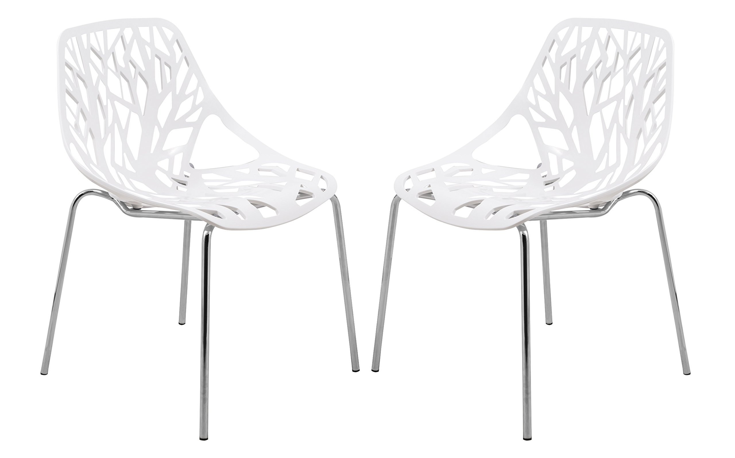 LeisureMod Modern Asbury Dining Chair with Chromed Legs, White, Set of 2