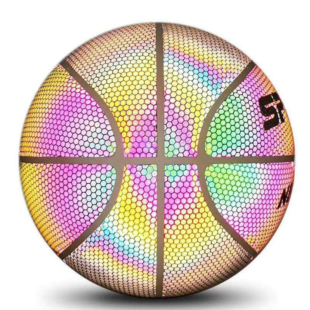 Reflective Basketball Luminous Street Basketball Glowing Boys Rainbow Light U7D0