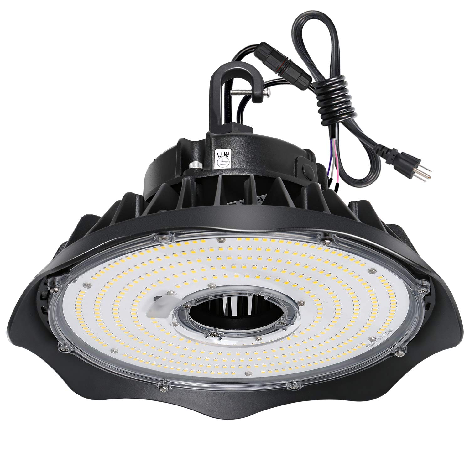 Hykolity 150W UFO LED High Bay Light Fixture, 19500lm 5000K 1-10V Dimmable 5' Cable with US Plug DLC Complied High Bay Light[250W/400W MH/HPS Equiv.] Commercial Warehouse/Workshop/Outdoor Area Light