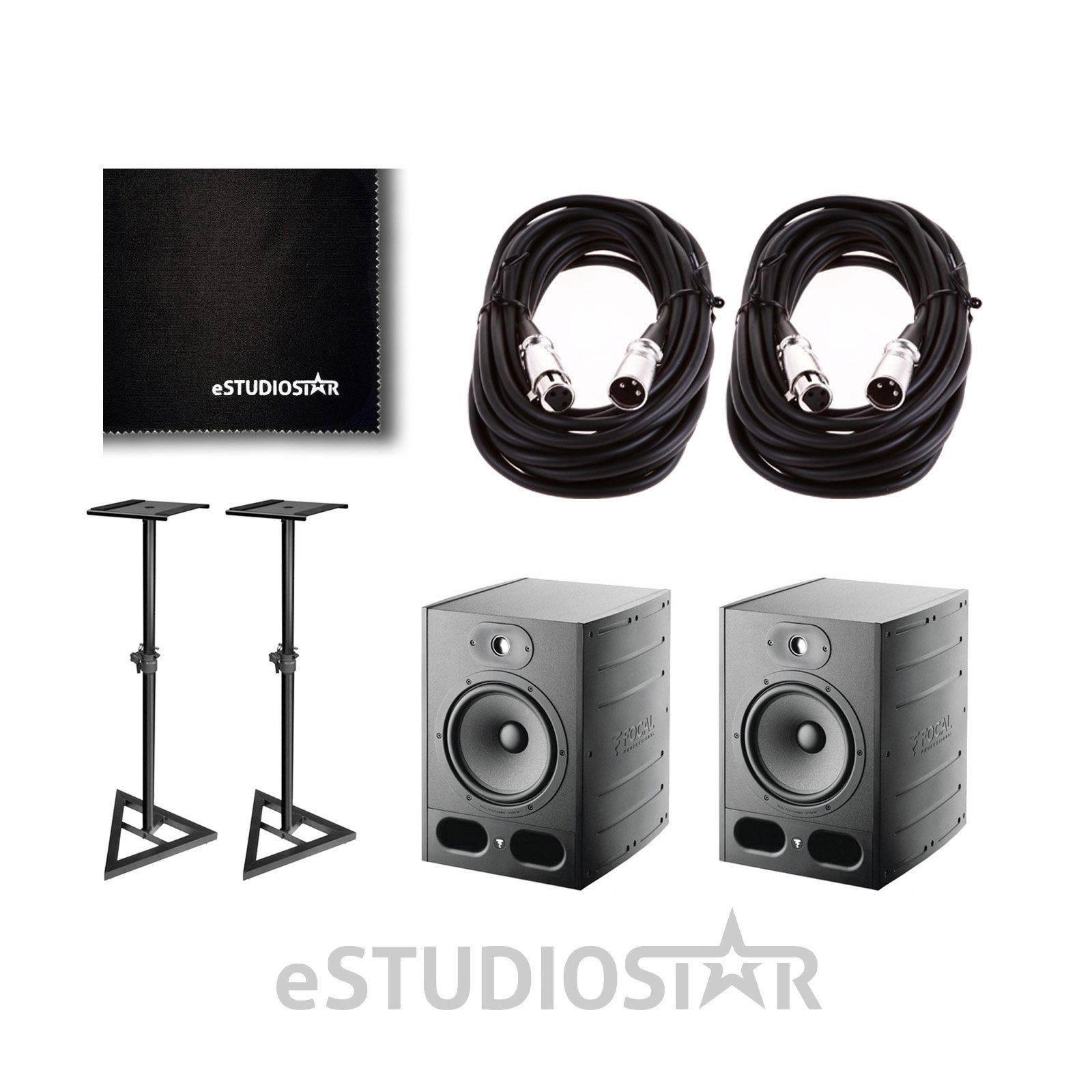 Focal Alpha 50 Pair Active 2-Way 8'''' Near Field Professional Monitoring Speakers w/Stands & Cables
