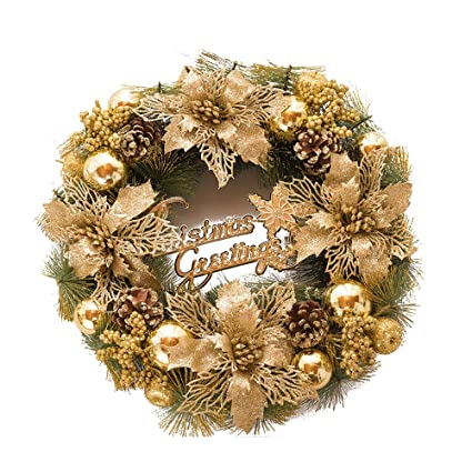 Gold Christmas Wreath.Amazon Com Christmas Wreath Front Door Wreath Pine Holly