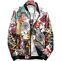 LifeHe Men's Japanese Printed Slim Fit Lightweight Flight Bomber Jacket Coat
