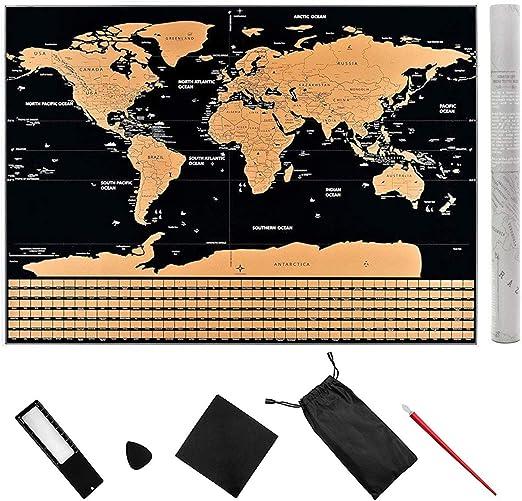 Póster del mapa de rascar del mundo, Póster de mapa de viaje, 3