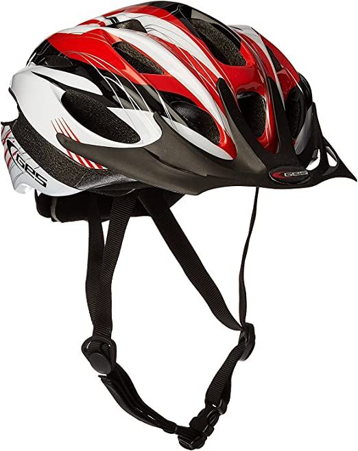 Talla M Ecoshirt 9C-T5M3-GD8S Casco Helmet Casque Helme Ges Rocket Rojo con Blanco y Negro M 54-58Cm MTB Road Fox Rock Shox Stickers Pegatinas Autocollant