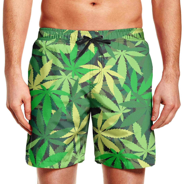 Mens Beach Shorts Green Cannabis Energy Side Split Swim Drawstring Waist Board Shorts