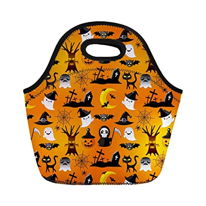 f7cc19771f5d Amazon.com: Semtomn Neoprene Lunch Tote Bag Orange Cute Cartoon ...