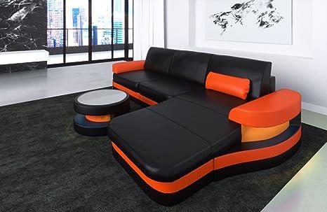 Divano Pelle Arancione : Divano in pelle modena a forma di l nero arancio divano divano