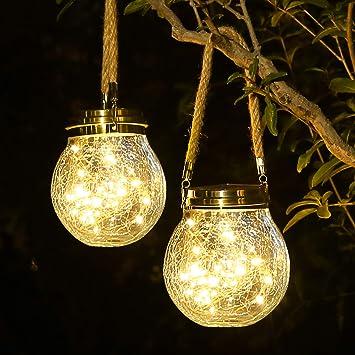 4 Piezas Linternas Solares Al Aire Libre LED Lampara Colgando Para Patio Jardin