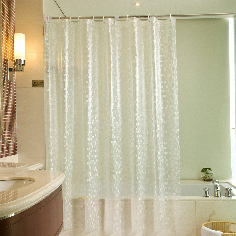 Waterproof Transparent Clear 3D Effect Bathroom Shower Curtain ...
