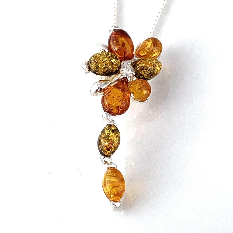Cognac Floral Genuine Baltic Amber Sterling Silver Pendant