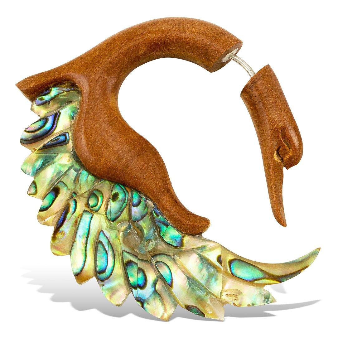 Fake Gauges Wood Earrings Sankofa Abalone Wings S/Tan