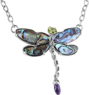 product image for Carolyn Pollack Sterling Silver Abalone, Purple Amethyst and Green Peridot Gemstone Dragonfly Pendant Necklace 19 Inch