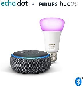 Echo Dot (3.ª generación), tela de color antracita + Bombilla inteligente LED Philips Hue White & Color, compatible con Bluetooth y Zigbee, no se requiere controlador