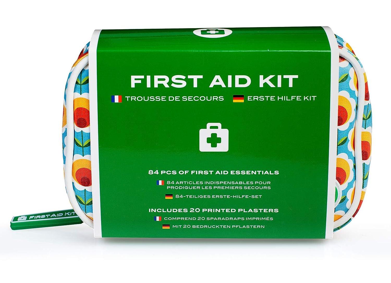 Kit de primeros auxilios – Mini botiquín de viaje con 84 artículos de Yellodoor (azul, Flores Felices) Yellodoor Ltd