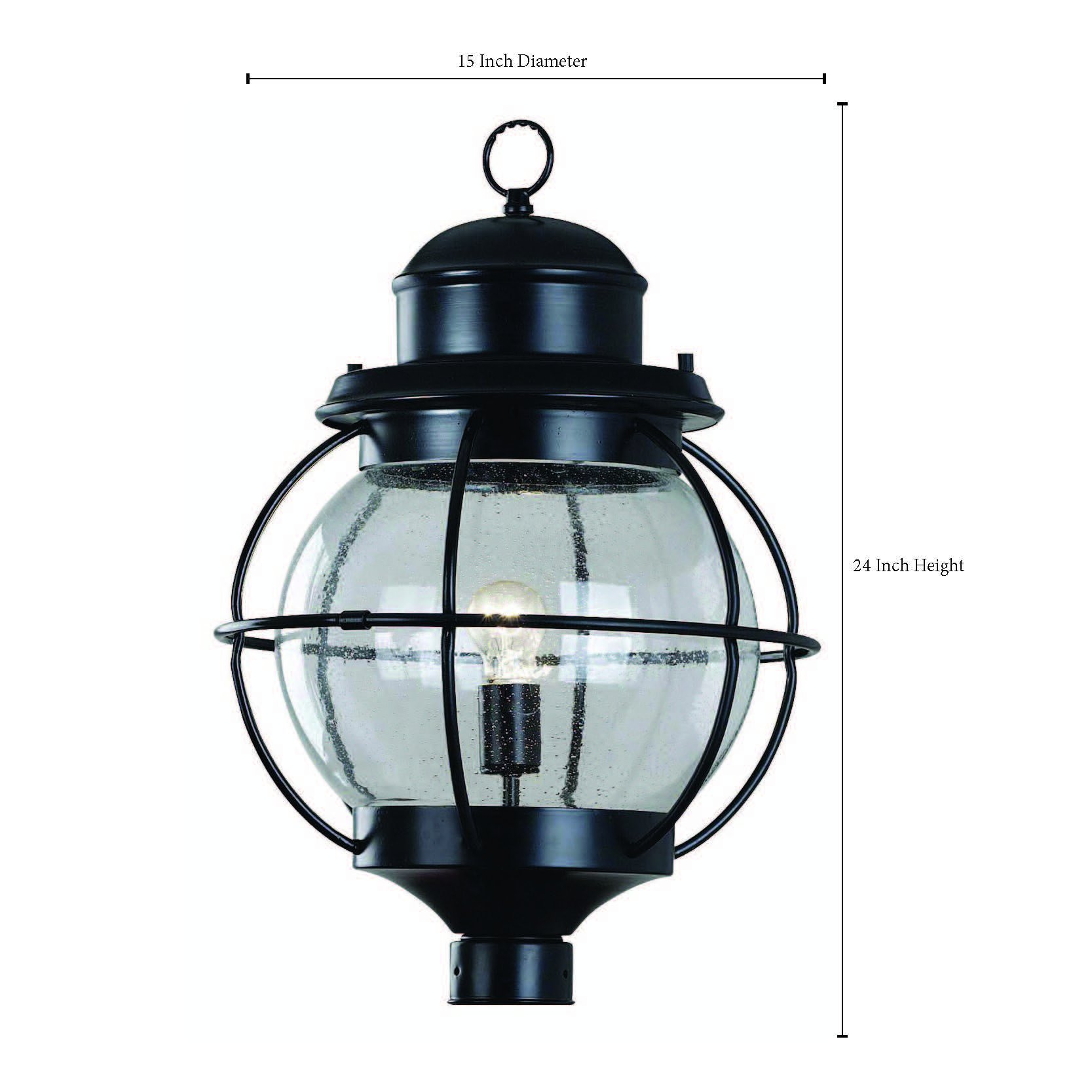 Kenroy Home 90967BL Hatteras 1-Light Post Lantern, Black by Kenroy Home