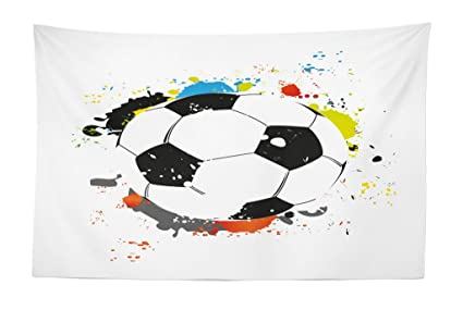 c1604b6fbf5 Lunarable Boy's Room Tapestry, Abstract Grunge Soccer Ball in Rainbow Colors  Game Hobby Activity,