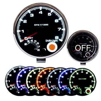 Amazon sinovcle car gauge 375 tachometer 7 led colors sinovcle car gauge 375quot tachometer 7 led colors adjustable 0 8000 rpm tac shift sciox Choice Image