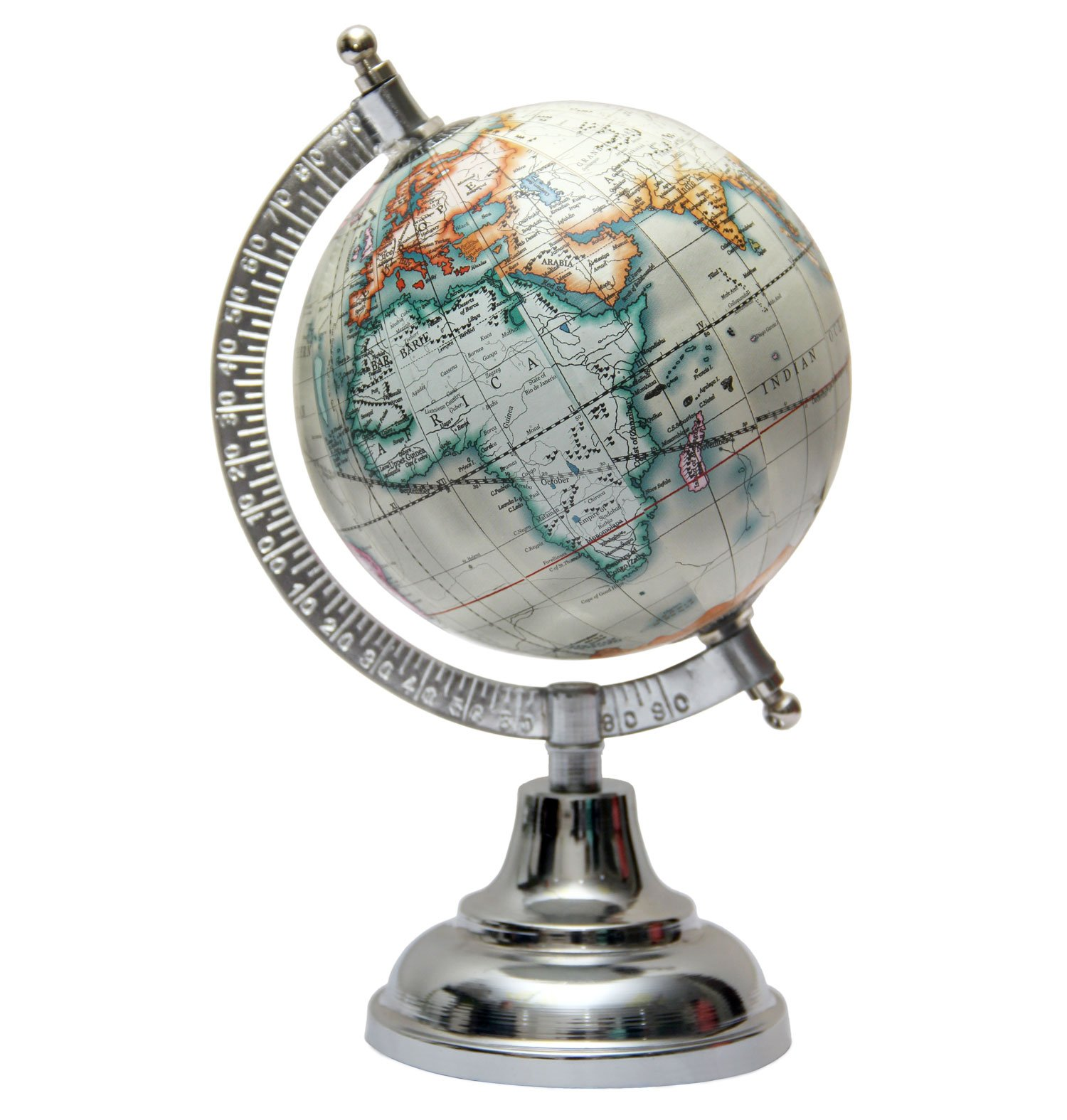 MasterpieceIndia 5 Inches Diameter World Earth Desktop Gift Decor Office Home Decorative Tabletop Globe (Off-White1)