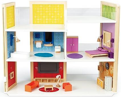 Amazon Com Hape Wooden Doll House Diy Dream Doll Kid S Play Set