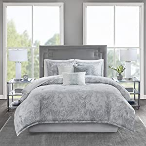 Madison Park Emory Comforter Cross-Weave Reversible Cotton Sateen Marble Printed Pattern Embroidered Pleated Pillow Soft Down Alternative Hypoallergenic All Season Bedding-Set, Queen, Grey