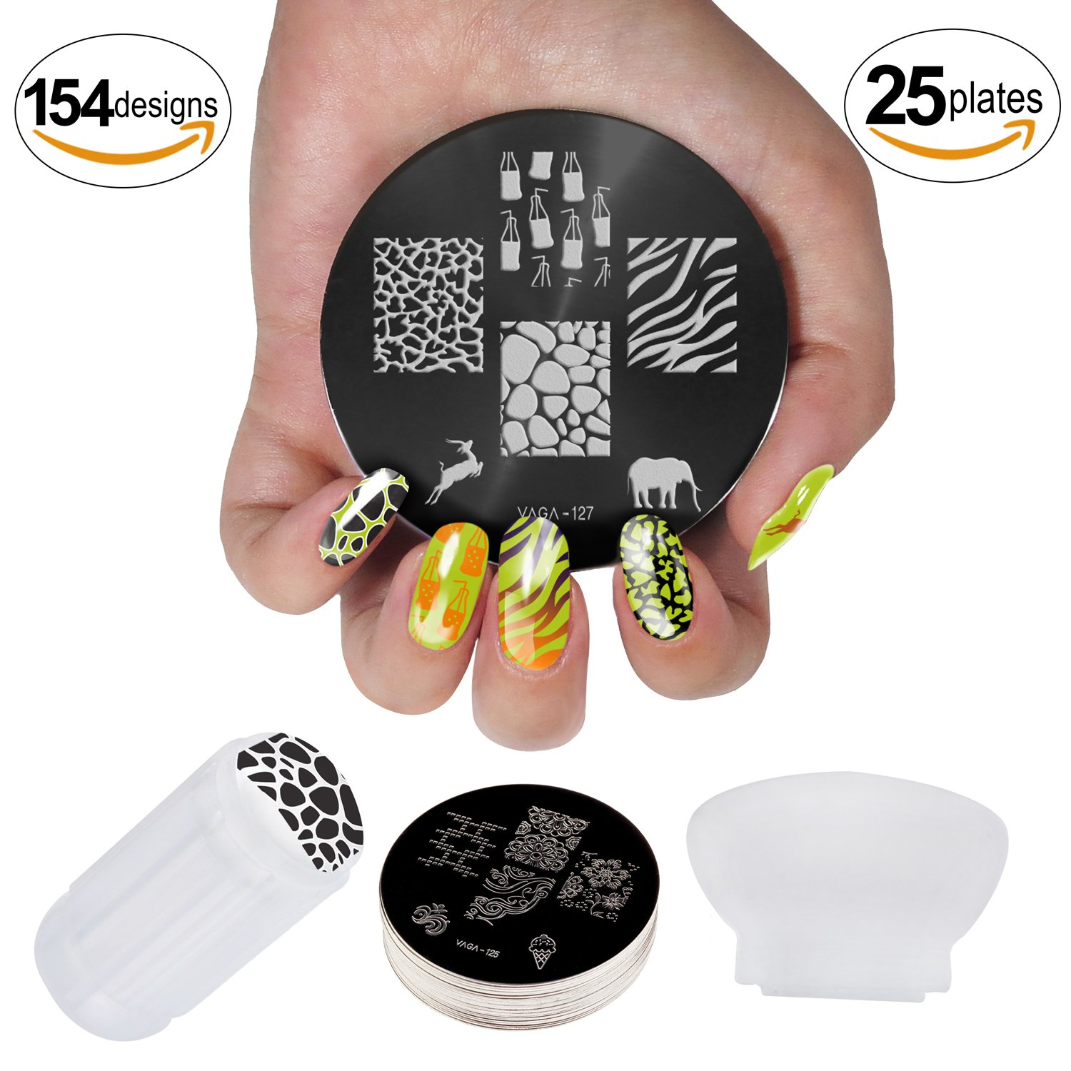 Professional Manicure Nail Art Set Kit With Polish Stamp Stamping Image Plates Accessories And Nail Art Stamper And Scraper By VAGA®