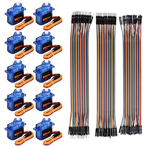 10Pcs SG90 Micro Servo Motor 9G Servo with 120pcs Multicolored Dupont Wire  40pin Male to Female, 40pin Male to Male, 40pin Female to Female Breadboard