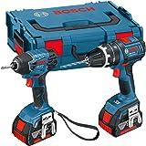 Bosch 0615990FN4 Professional GSB L-Boxx 18 V-LI Combi Drill and GDR 18 V-LI Impact Driver with Two 18 V 4.0 Ah Lithium-Ion Batteries