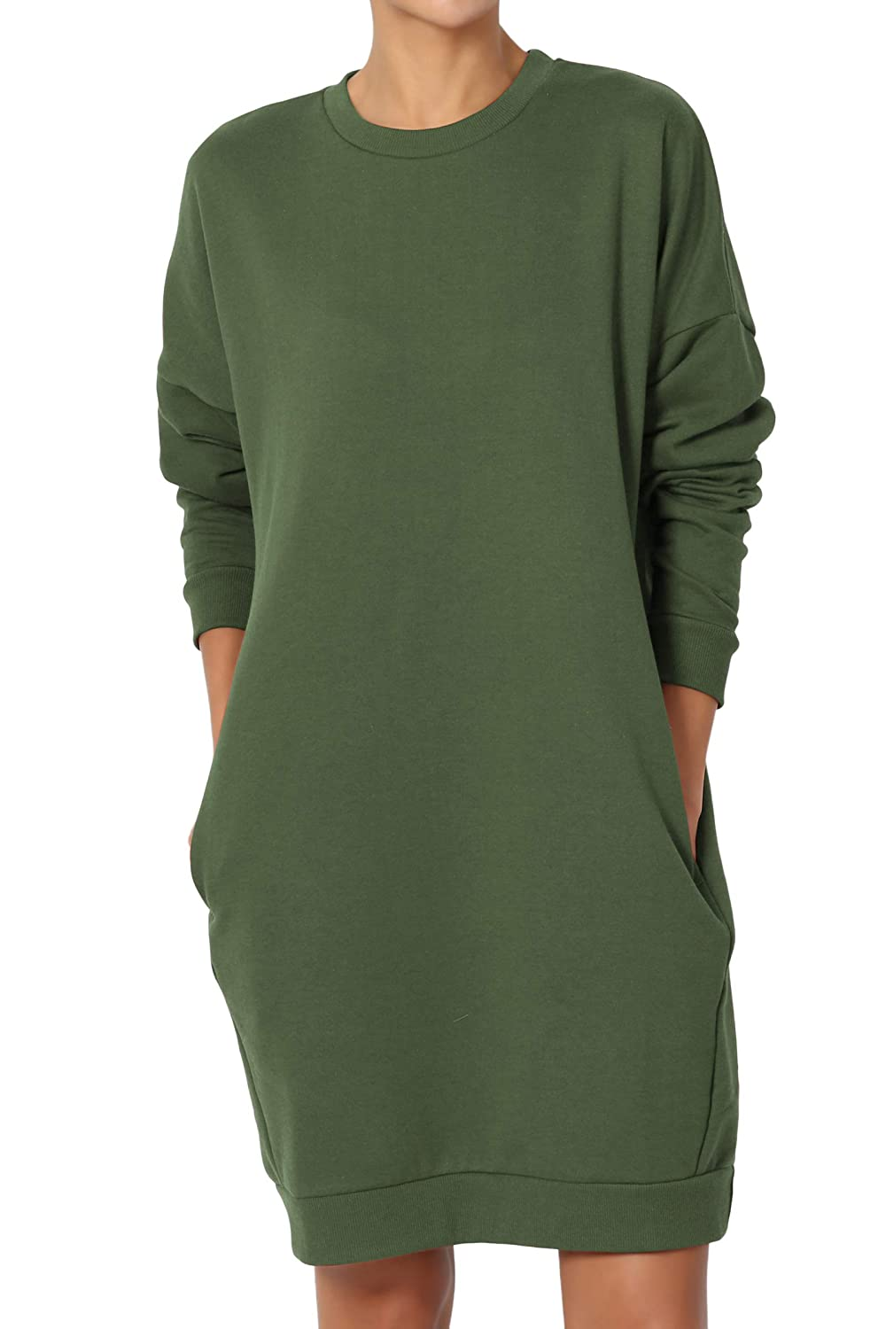 Themogan Casual Oversized Crew V Neck Sweatshirts Loose Fit Pullover