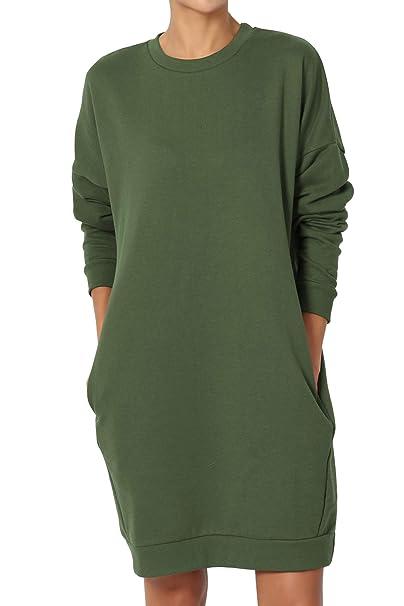 7782a41a6ba TheMogan Women s Casual Crew Neck Pocket Loose Sweatshirt Tunic Army Green  ...