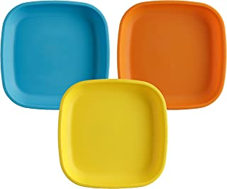 """product image for Re-Play Made in USA 3pk - 7.37"""" Plates with Deep Sides for Easy Baby, Toddler, Child Feeding - Sky Blue, Orange, Yellow (Spring Collection) Eco Friendly Heavyweight Recycled Polypropylene"""
