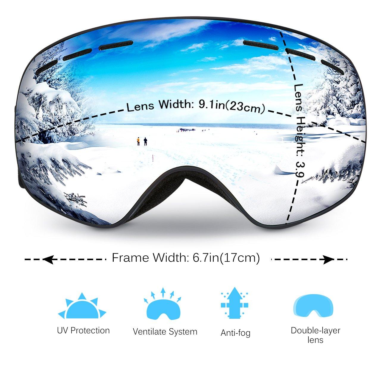 Mpow Masque de Ski Lunettes de Ski Femme et Homme Masque Snowboard Double  Grande Lentille OTG Sphérique Italienne Anti-UV400 Cadeau Idéal Noël   Amazon.fr  ... 960b821f89fb