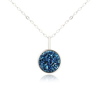 KristLand S925 Silver Necklace with Natural Druzy Little Round Pendant Delicate Short Chain Choker Faries Collections For Your Love PTbrz