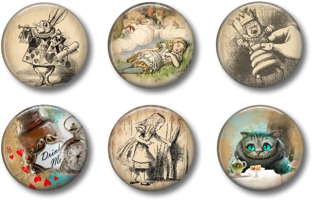 Cute Locker Magnets For Teens - Alice In Wonderland - Fun School Supplies - Whiteboard Office or Fridge - Gift Set