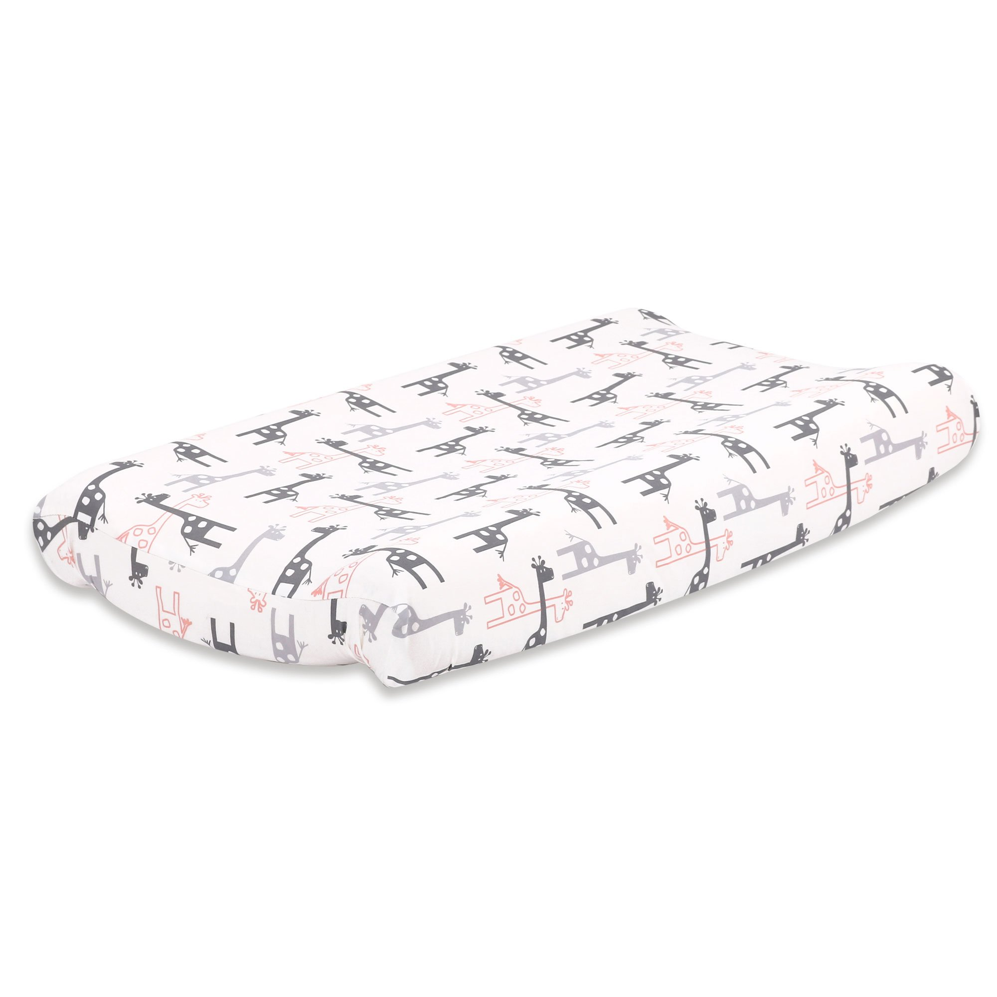 Uptown Girl Peach and Grey Giraffe Baby Changing Pad Cover by The Peanut Shell