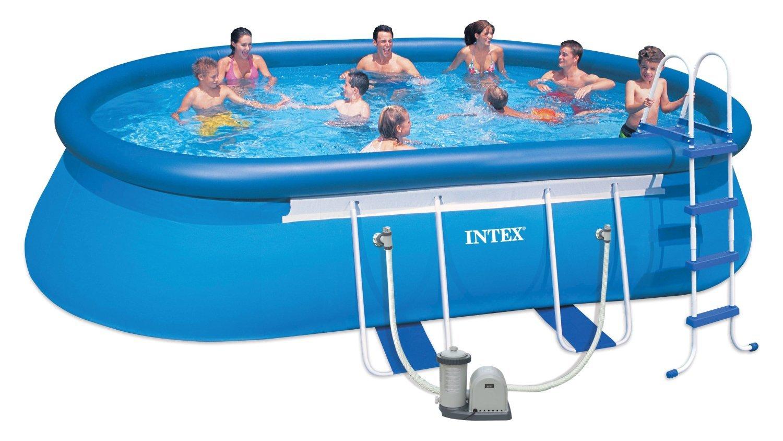 Intex Aufstellpool Oval Frame Pool Set, Blau, 549 x 305 x 107 cm