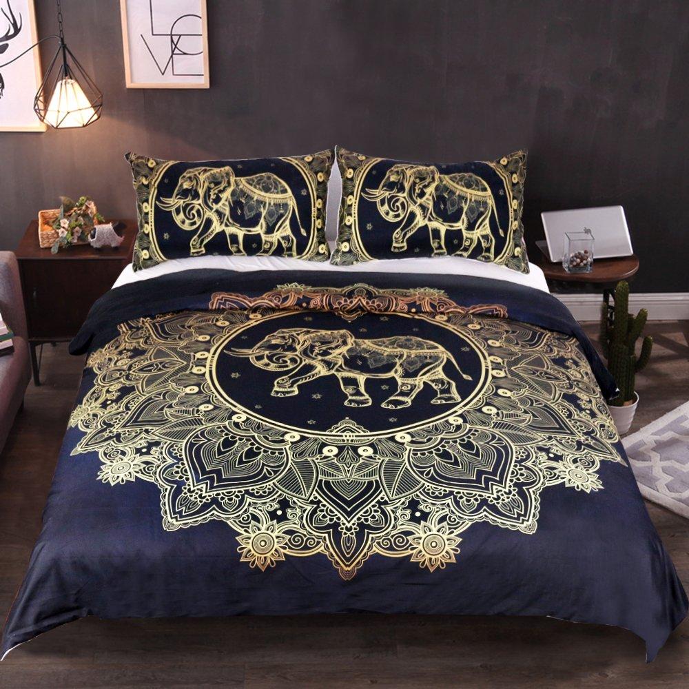 Sleepwish Gold Elephant Duvet Cover Mandala Bedding Black Golden Bedding Set Boys Girls Elephant Duvet Cover Set Full