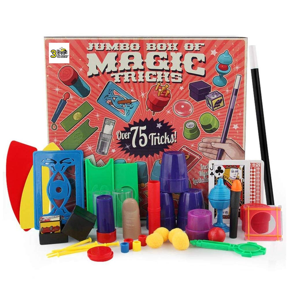 3 Bees & Me Deluxe Magic Kit Set with Toy Wand & 75 Magic Tricks for Beginners - Best Age 6 7 8 9 10 by 3 Bees & Me