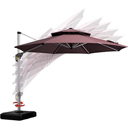 0d3d9846a8 PURPLE LEAF 11 Feet Double Top Round Deluxe Patio Umbrella Offset Hanging  Umbrella Outdoor Market Umbrella Garden Umbrella, Brown