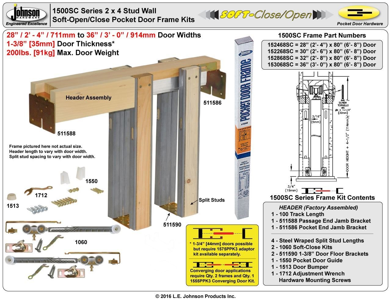 Johnson Hardware 153068 Commercial Grade Pocket Door Frame (36'' x 80'') Soft Close