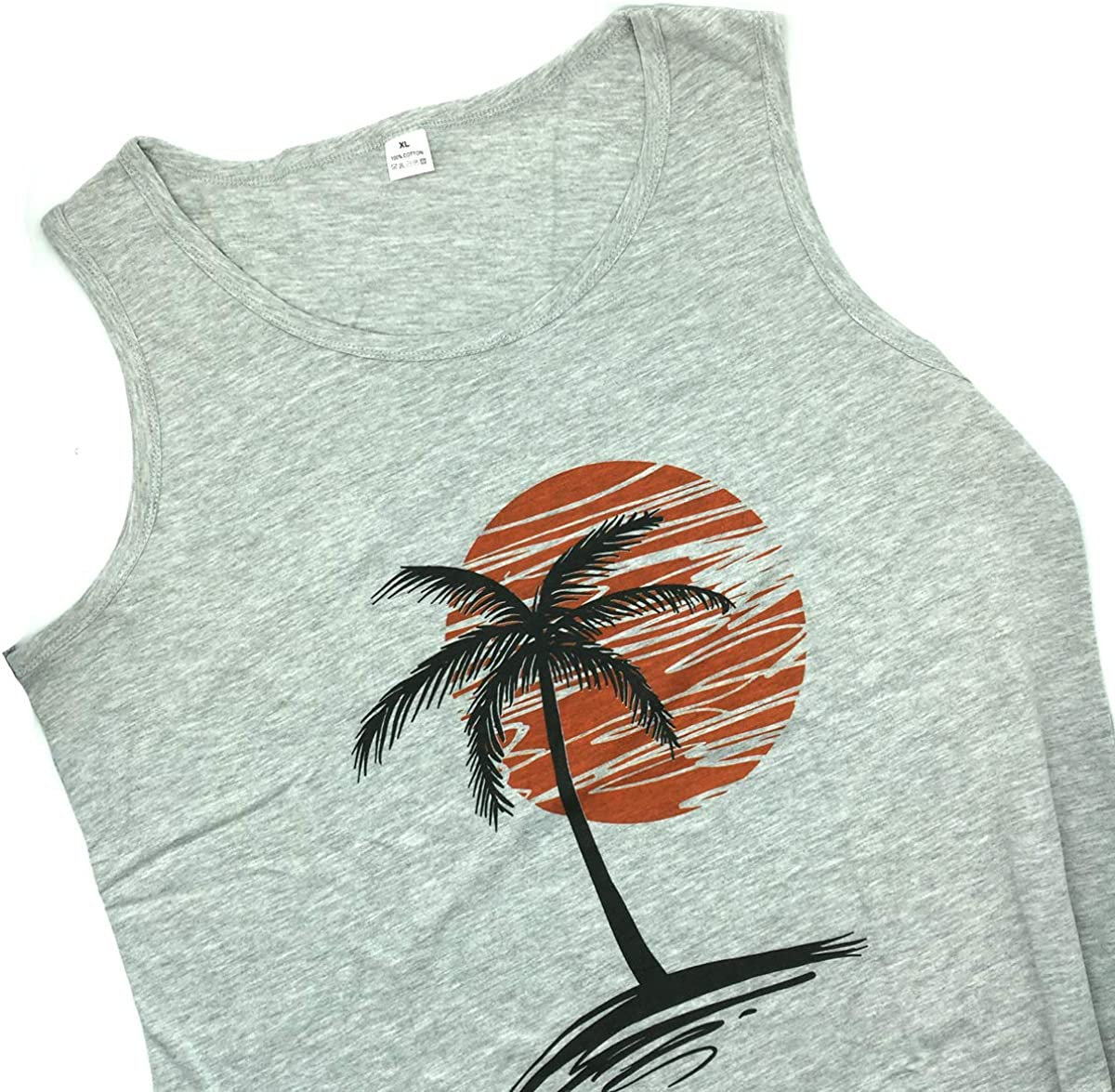Waldeal Mens Casual Palm Tree Sleeveless Beach Tank Tops Cool Fitness Shirt Size S-3XL