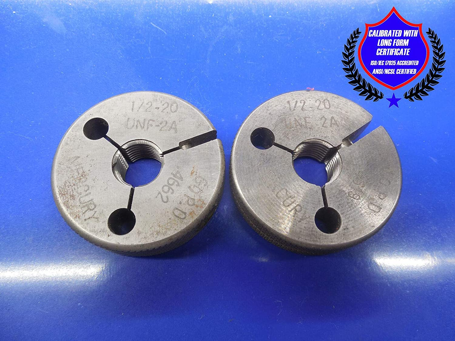 New Certified CALIBRATED 1//2 20 UNF 2A Thread Ring GAGES .5 GO NO GO .4662 .4619