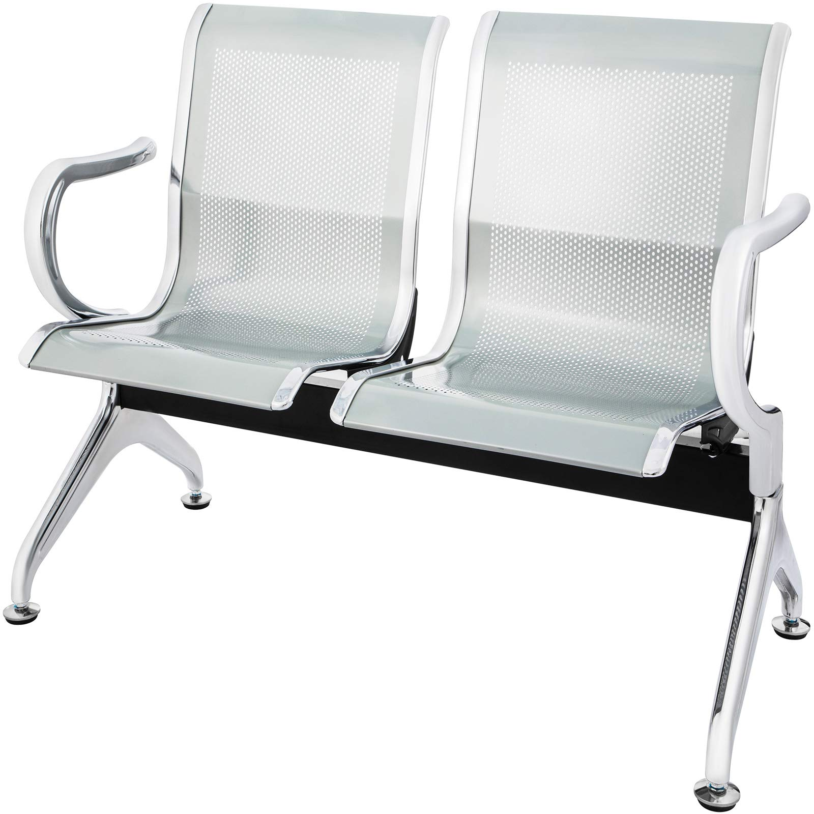 VEVOR Waiting Room Chairs 2 Seat Stainless Steel Business Reception Bench for Office Barbershop Salon Airport Bank Hospital Market(2 Seat,Silver)