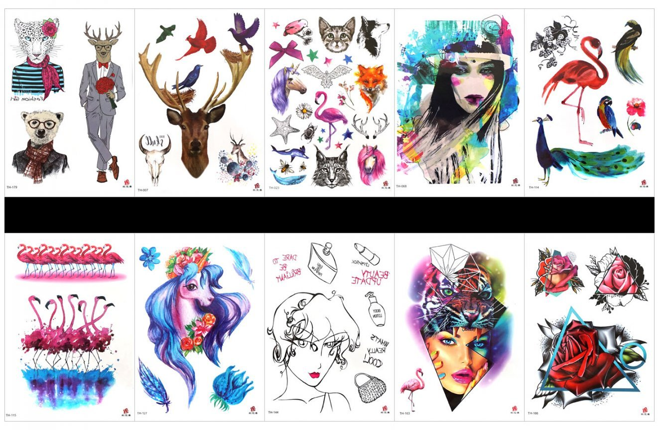 SPESTYLE 10pcs tattoo peacock tattoos waterproof and non toxic real fake tattoos in 1 packages,including deer,cartoon cute animal,lady,peacock,parrot,crane,etc.