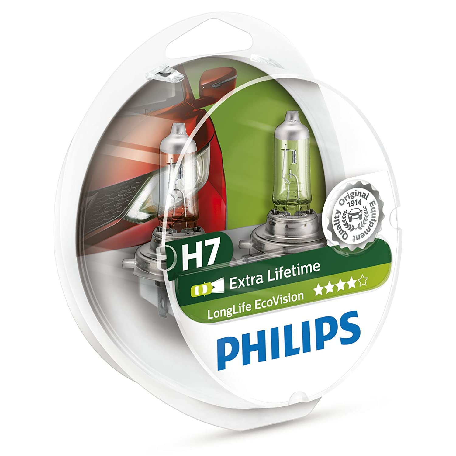 Philips 12972LLECOS2 - Fanale LongLife EcoVision H7, 2 pezzi