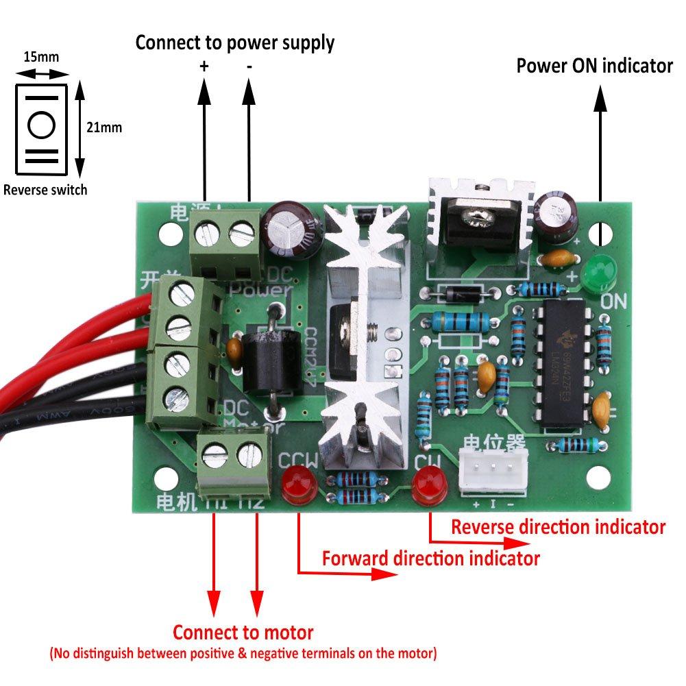 Yeeco Dc Motor Speed Pwm Controller Board 10v 12v 24v 30v 120w Forward And Reverse Circuit Adjustable Driver Regulator Reversible Reversing