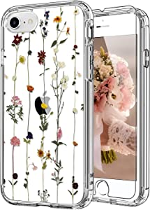 ICEDIO iPhone SE 2020 Case,iPhone 8 Case,iPhone 7 Case with Screen Protector,Clear TPU Cover with Elegant Floral Flower Patterns for Girls Women,Shockproof Protective Phone Case for iPhone 7/8/SE2
