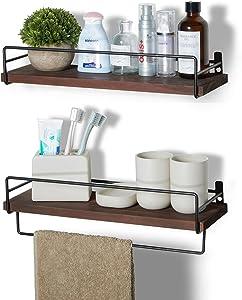 SODUKU Floating Shelves Wall Mounted, Wall Wood Storage Shelf for Kitchen Bathroom Bedroom Set of 2 Brown